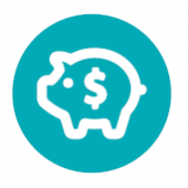 Icon of a piggy bank and a dollar sign on the pig