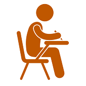 Graphic Icon of a Student Taking an Exam