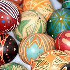 Photo of a group of highly decorated eggs, a practice common to Slavic cultures