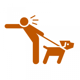 Graphic Illustration of a Person Walking a Dog