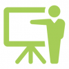 Icon is green of a person teaching class in front of a chalkboard
